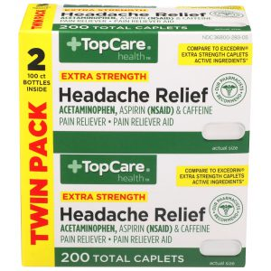 Extra Strength Headache Relief Caplet 2 Bottles / 200 Count