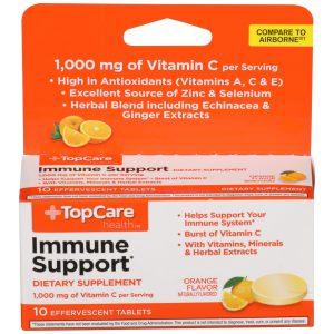 Immune Support Vitamin C Effervescent Tablet Orange 10 Ct