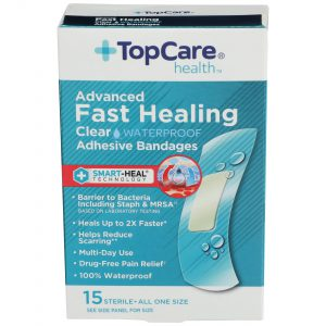 Advanced Fast Healing Clear Waterproof Bandages 15 Ct