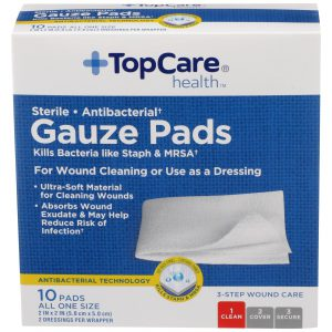 Gauze Pads Step 1 for 3-Step Wound Care 2 In X 2 In 10 Ct