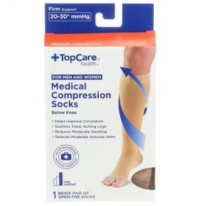 Unisex Medical Compression Socks Beige Open-Toe M