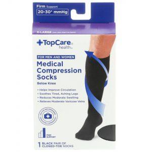 Unisex Medical Compression Socks Black Closed-Toe XL