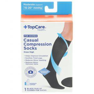 Women's Casual Compression Socks Black Closed-Toed M