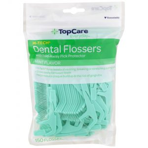 Dental Flossers with Fold-Away Pick Protector, Mint