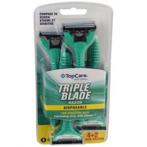 Triple Blade Men's Disposable Razors for Sensitive Skin