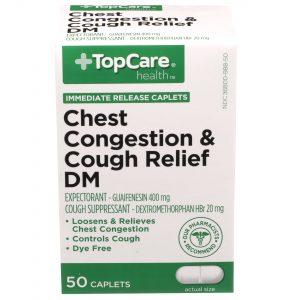 Chest Congestion & Cough Relief DM Dye-Free Caplet 50 Ct