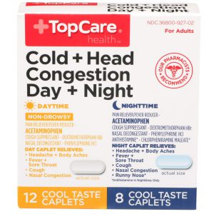 Cold + Head Congestion Day + Night Caplet Cool Taste  20 Ct