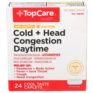 Cold + Head Congestion Daytime Caplet Cool Taste 24 Ct