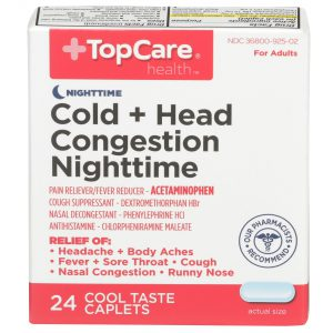 Cold + Head Congestion Nighttime Caplet Cool Taste 24 Ct