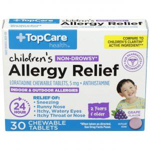 Children's Allergy Relief 24Hr Chewable Tablet Grape 30 Ct