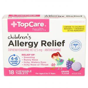 Children's Allergy Relief Chewable Tablet Grape 18 Ct