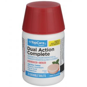 Dual Action Complete Acid Reducer Antacid Chewable Tablet Mint 25 Ct