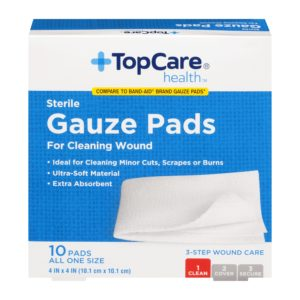 Gauze Pads Step 1 for 3-Step Wound Care 4 In X 4 In 10 Ct