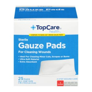 Gauze Pads Step 1 for 3-Step Wound Care 2 In X 2 In 25 Ct